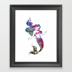 Little Mermaid Watercolor Framed Art Print