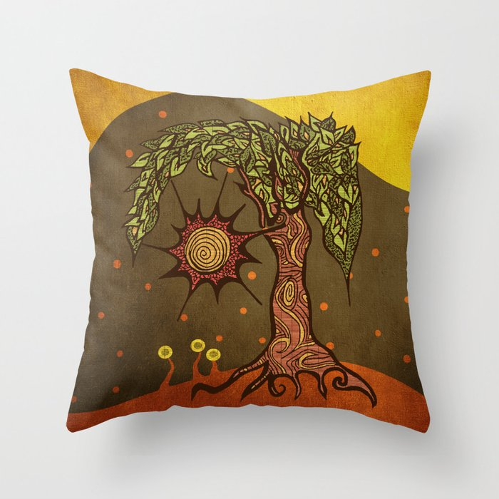 "Mystic tree Dia by Pom Graphic Design & Viviana Gonzalez"" Throw Pillow"