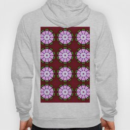 Purple White Flower on Burgundy Pattern Hoody