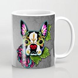 Boston Terrier in Black - Day of the Dead Sugar Skull Dog Coffee Mug