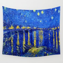 Starry Night Over Rhone Wall Tapestry