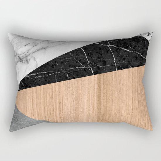 Marble, Garnite, Teak Wood Abstract Rectangular Pillow