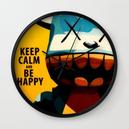 KAWS - Keep Calm and Be Happy Wall Clock