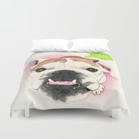english bulldog Duvet Covers featuring English Bulldog - F.I.P. - @LucyFarted by PaperTigress