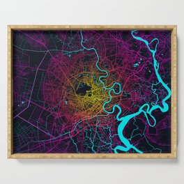 Ho Chi Minh City Map of Vietnam - Neon Serving Tray