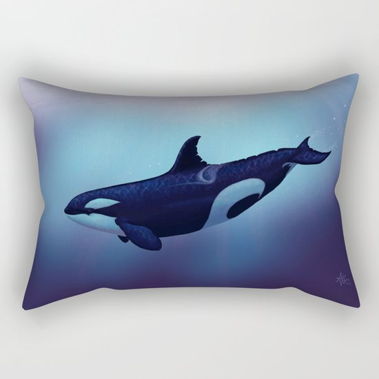 """""""Lost in Fantasy"""" by Amber Marine ~ Orca / Killer Whale Art, (c) 2015 Rectangular Pillow"""