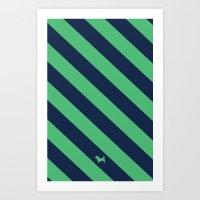 Preppy & Classy, Navy Blue / Green Striped Art Print