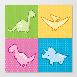 Colorful dinosaurs and pterodactyl cheater quilt Canvas Print