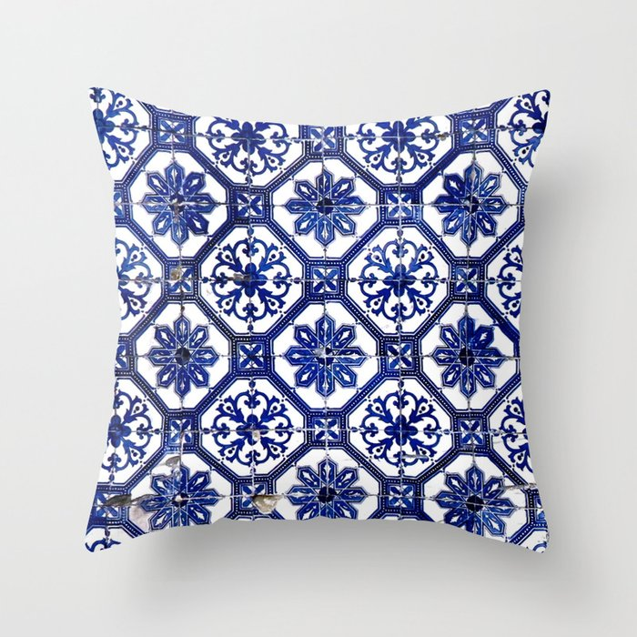 Portuguese Tile Throw Pillow By Blueline Society6