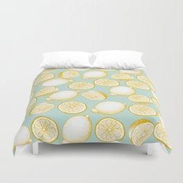 Lemons On Turquoise Background Duvet Cover