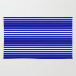 Royal Blue and White Horizontal Stripes Rug