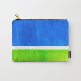 Abstract Minimalist Mid Century Modern Watercolor Geometric Squares Rothko Lime Green Marine Blue Carry-All Pouch