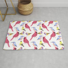 Watercolor Birds in triad color scheme- red, yellow, blue Rug
