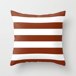 Smokey Topaz - solid color - white stripes pattern Throw Pillow