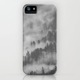 Vintage Black & White Photo Of A Mountain Forest With Mist iPhone Case