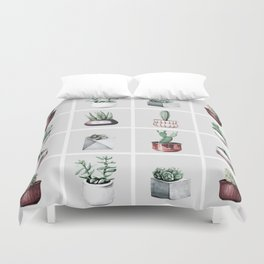 Cactus Bunch Grid Rose Gold Gray Green Duvet Cover