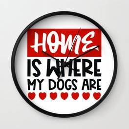 Home is where my dogs are Wall Clock