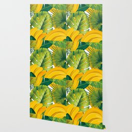 Tropical leaves decor bananas print forest interior palm Wallpaper
