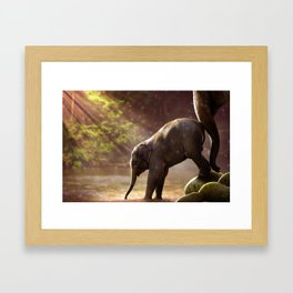Mother Knows Best (Baby Elephant & Mom) Framed Art Print