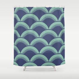 Japanese Fan Pattern Blue and Turquoise Shower Curtain