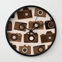 cameras Wall Clocks featuring cameras (white) by vitamin