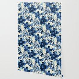 Shibori Inspired Oversized Indigo Floral Wallpaper