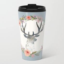 Deer and Wreath Print Travel Mug