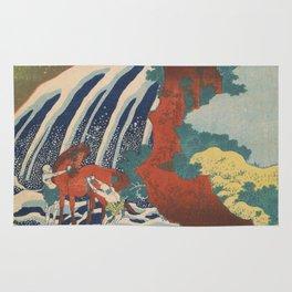 Yoshino Waterfalls Where Yoshitsune Washed his Horse by Katsushika Hokusai Rug