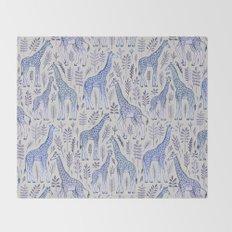 Blue Giraffe Pattern Throw Blanket