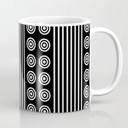 Geometric White on Black Vertical Stripes & Circles Coffee Mug