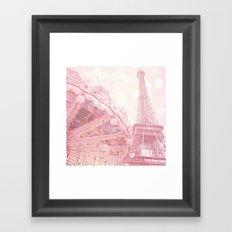 Paris Pink Eiffel Tower Carousel Framed Art Print