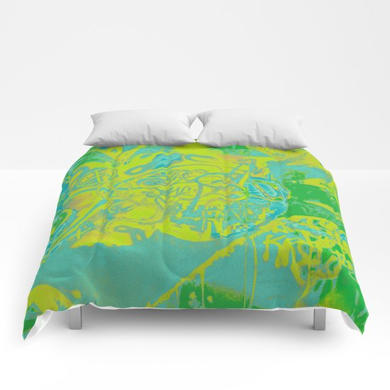 Fancy abstract yellow blue green graffiti design Comforters