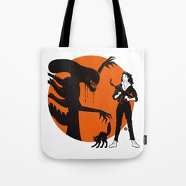 Alien Cartoon Style - Orange Tote Bag