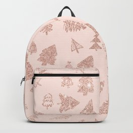 Modern rose gold glitter Christmas trees pattern on blush pink Backpack
