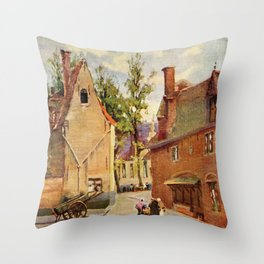 Bruges Place des Tanneurs litho aquarelle  Throw Pillow