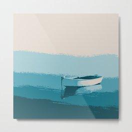 Blue boat blue sea wall art print Metal Print