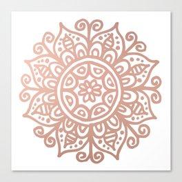 Rose Gold Floral Mandala Canvas Print