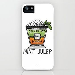 Mint Julep Mixed Bourbon Drink Alcohol print iPhone Case