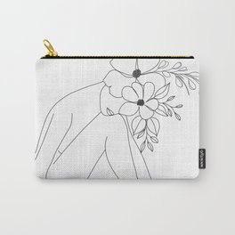 Minimal Line Art Nude Woman with Flowers Carry-All Pouch