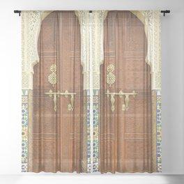 Ornate Moroccan Door Sheer Curtain