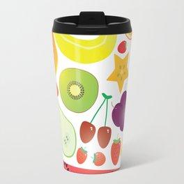 Healthy lifestyle. Fruits on white background Travel Mug