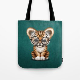 Cute Baby Tiger Cub Wearing Eye Glasses on Teal Blue Tote Bag