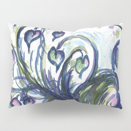 Pink Hearted Peacock watercolor by CheyAnne Sexton Pillow Sham