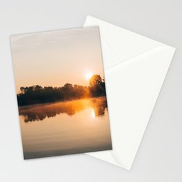 Dawn Mist Over Long Run Lake Stationery Cards