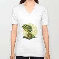 dinosaur V-neck T-shirts featuring Dinosaur by SansArt