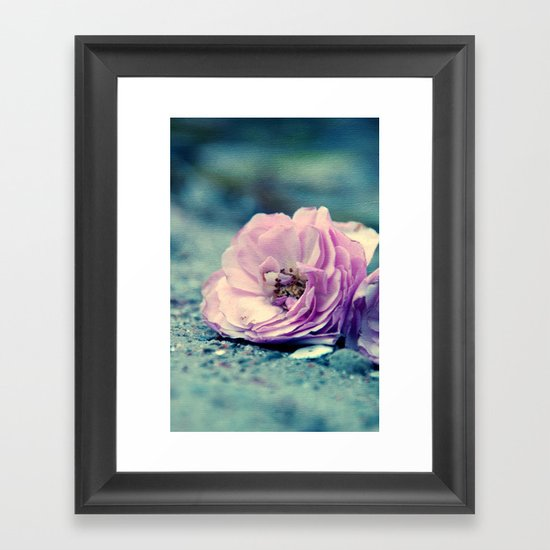 rose on beach Framed Art Print