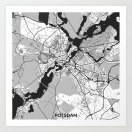 Potsdam Map Gray Art Print
