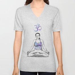 Ohm Meditation drawing Unisex V-Neck