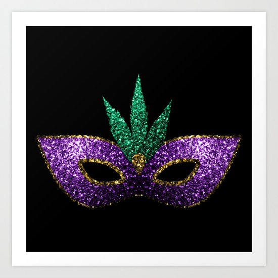 Mardi Gras Mask Purple Green Gold Sparkles Art Print