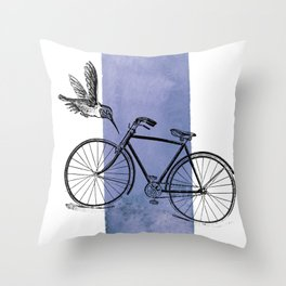 Humming Bird and Bicycle on Purple Watercolor Wash Throw Pillow